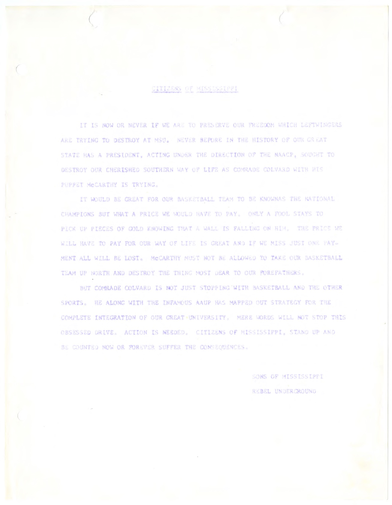 Essay Writing On Newspaper Note From The Rebel Underground Urging Mississippians To Stand Against  President Colvard And Coach English Essay Introduction Example also Student Life Essay In English The Msu Story  A Shaky Truce  Starkville Civil Rights  The Importance Of English Essay